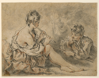 "A seated shepherdess, seen from the right back, plays on a pipe to a young shepherd, seen frontally, lying on the ground on his stomach, crook in his right hand. Inscribed, lower right: ""Boucher.""