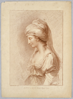 The lady, in profile, faces left, with a high turban-like hat, in decolletage. Below, the artist's name and date of publication.