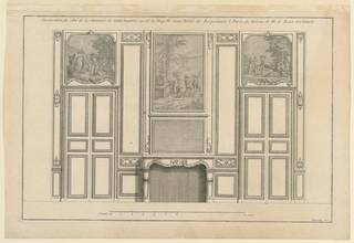 "Elevation of a wall with fireplace flanked by double doors. Paintings, landscapes with figures, on overdoors and mantelpiece. Paneling divided in rectangular fields. Scarce scroll carving on some panels. Inscribed, upper margin: ""Decoration du côté de la cheminée de l'Antichambre ou est la Chapelle dans l'Hotel de Roquelaure à Paris due dessein de M. le Roux Architectre""; lower right: ""Mariette exc."""