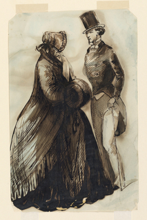 Vertical rectangle with trimmed corners. Figure of a woman, side view, facing right, wearing a poke bonnet and shawl and carrying a muff. She is talking with a gentleman seen in three quarter front view wearing a high hat, light trousers, cutaway coat and carrying a cane.
