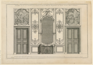 "An elevation of a wall with a fireplace in center, flanked by double doors. Fireplace with a mirror with a voluted top. Paintings on overdoors. Panels decorated with scroll pattern at the ends and in center. Inscribed, upper margin: ""Decoration du côté de la Cheminée de la Chambre à coucher de l'Hotel de Roquelaure, du dessein de M. le Roux Architecte""; lower right: ""Mariette exc."""