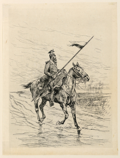 A cavalry officer is seen riding his steed from the right, front. His head is turned to the left and he carries a long spear in his right hand.