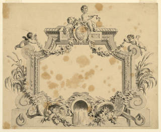 """A frame with curved, chamfered corners decorated at the top with putti, one holding a ribbon inscribed """"Dum Spiro Spero,"""" above an escutcheon showing a rampant lion and three crescents. At either side, flying putti hold rose garlands. At the bottom, water and fruit spill from three overturned vases, two other escutcheons, a mace and oars. The frame rests on a stone base with attached rings at either side."""