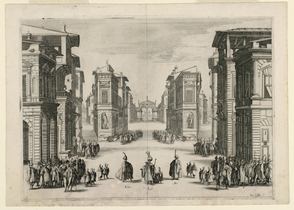 Horizontal rectangle. An engraving of the scenery (the same for the 5 acts) and the actors in the first act. The set depicts an Italian town in perspective, as the village of Alep in Syria. Troops stand at the corners of the streets, and the main characters, Soliman, Acmat, and Rus are center. the artist's name, lower right center.
