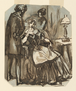 Vertical rectangle, bevelled corners. A lady seated in a chair by a table on which is a lighted lamp.  She wears a full skirt, an apron, and a cap on her head.  To the left is a male hairdresser in a smock and behind her at right a maid, both arranging her hair.