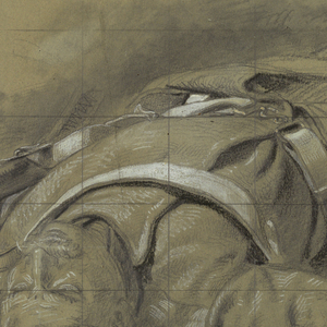 A soldier laying on the ground in foreshortened view, with head towards the viewer.