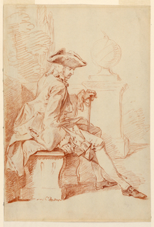 A male figure in gentleman's clothing, shown in profile facing right, seated on a bench in a park. A sphere (globe) on a pedestal in the right middle distance. Verso: reddened for tracing.