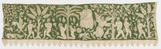 A panel of off-white linen embroidered with green silk, and trimmed on one long edge with linen bobbin lace. The silk fills in the entire background, leaving the figures in the exposed linen. Details of the figures are also embroidered in green silk. Depicting scenes from the story of Adam and Eve in the Garden of Eden, with God, an angel, and numerous birds and beasts.