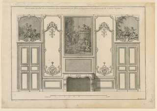 "Elevation of a wall with fireplace in the middle, flanked by double doors. Paintings on overdoors and mantelpiece. Panels between doors and fireplace decorated with acanthus scroll, shell, and flower basket carvings. Inscribed, upper margin: ""Decoration du côté de la Cheminée d'une Antichambre de Hotel de Roquelaure A Paris du dessein de M. le Roux Architecte""; lower right: ""Mariette exc."""