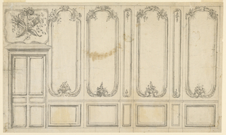 The overdoor is decorated with a trophy composed of Cupid's quiver, Hymen's torch and boughs, suspended from a whirl with a bow-knot. Wall panels and pilasters are carved.