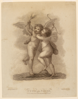 Cupid, left, holds a torch high in his right hand, Psyche, with one foot on a rock attempts to reach it. Cupid's bow is in his other hand.
