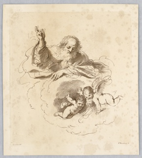 God, with his right hand raised in blessing, looks over the rim of a cloud to two putti below.