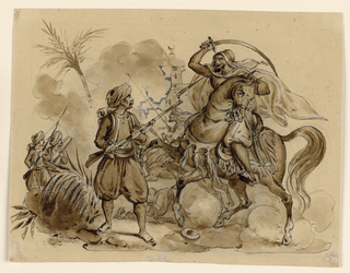 Arabs on horseback fleeing toward left. At right, a group of soldiers.