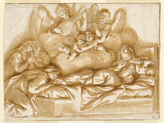 Figure of a reclining saint plays the violin surrounded by four angels and putti. One of the three nuns at left kisses the feet of the saint. Squared for enlargement in black chalk.
