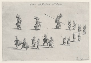 Procession of 17 figures moving from upper left to upper right and then to lower left. Figures include musicians and torch bearers.