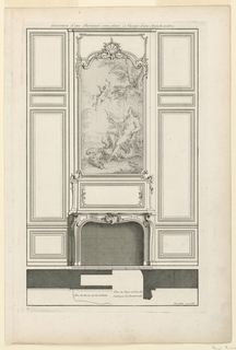 """A simple mantelpiece with voluted outline with a rectangular painting above it depicting seated Apollo with an amor. Decoration of scrollwork on upper part of the frame. Paneling flanking fireplace consists of rectangular fields in sequence without any special ornamentation. Below, profiles of molding. Inscribed, upper margin: """"Decoration d'une Cheminée sans glace, à l'usage d'une Anti-chambre""""; lower right: """"Mariette excudit""""; lower left: """"3""""."""