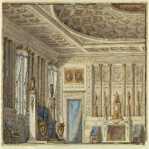 Design for a stage set.  A richly furnished room in the classical style, with a fireplace and curtained door at the back.  A large divan and three smaller chairs with matching blue upholstery along the walls, coffered ceiling, and tall windows at the left.
