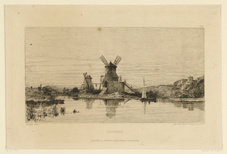 A shallow body of water is bordered by two windmills, near which is a small sailboat. Buildings, right distance.
