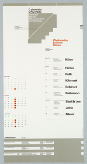 "Poster, ""Fall 1984"" poster for Columbia School of Architecture lecture series, ca. 1984"