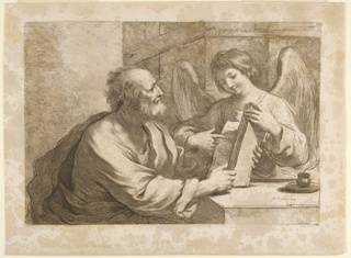 Saint Matthew is seated at a table, facing the Angel, who points to something in the book. He is to the left of the table, the ANgel behind it at the right. A pen and ink are on the table.