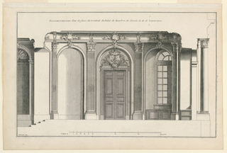 "Elevation of vestibule with the door in the center; a niche with a window at right; two niches, windowless, at left. Wall decorated with fluted Corinthian pilasters. Ceiling cove decorated with cartouches. Inscribed, upper margin: ""Decoration interieure d'une des faces du Vestibule du Palais de Bourbon, du dessein de M. le Lassurance""; lower left: ""Mariette exc."""