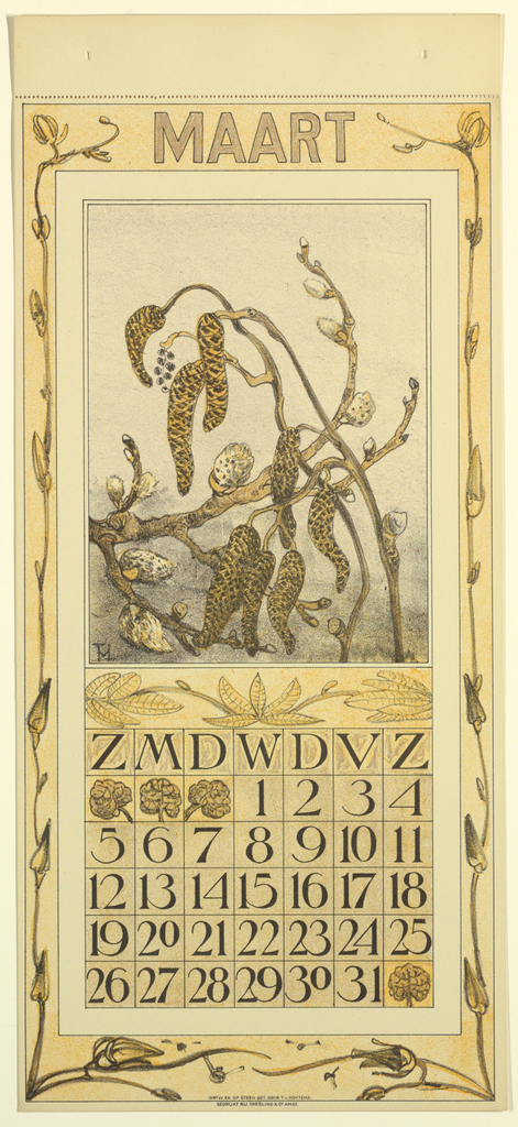 """Upright horizontal composition. Design for a March 1911 calendar page, the scheme in shades of yellow. The central motif is a pussywillow branch. Below this is a calendar for the month of March with Dutch initials corresponding to the days of the week. At the top of the calendar portion of the page is printed """"MAART."""""""