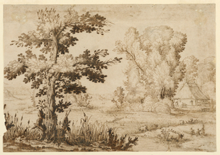 A large tree in the left foreground stands at the edge of a field and stream, in which are cows and figures. Beyond, at the right, are additional trees and a thatched house, with other figures before it.