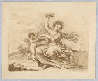 Flora sits, center, with her right hand she holds a garland high, and she picks more flowers from a basket held by the putto, with her left hand. Beyond, plants and mountains and clouds.