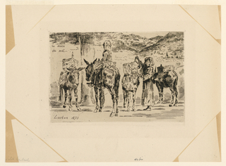 Landscape with high mountains in the background. In foreground, four donkeys loaded with packages, accompanied by two women, one seated on donkey and one standing beside.