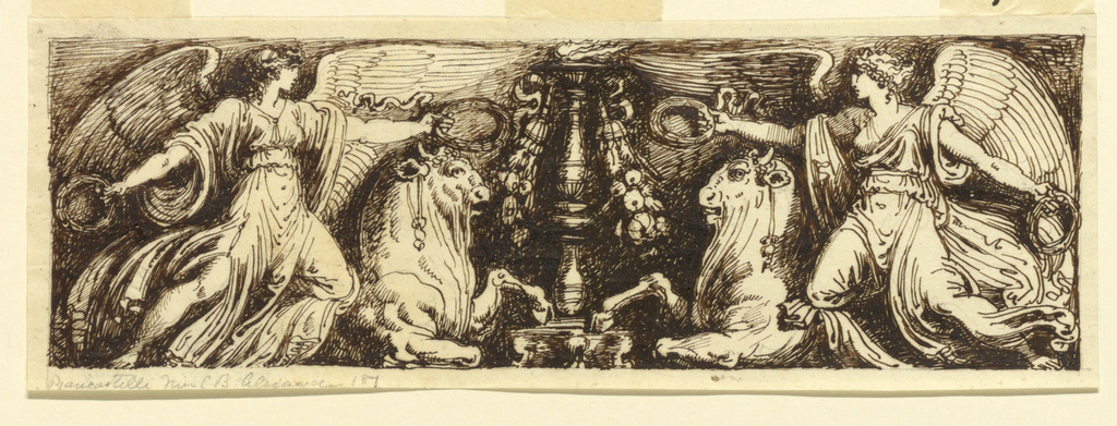 Two winged female figures holding wreaths, reaching to center, and two bulls, flank central vase.
