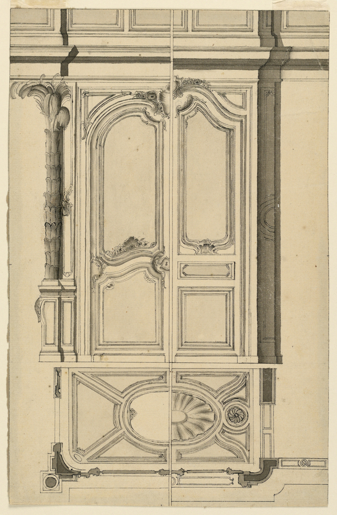 Variation of the designs of F.Cornille for Saint Roch in Paris of 1751, as engraved by A.Monchelet, plate 4.