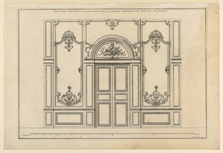 "Elevation of the wall with a double door in center. The semi-circular overdoor decorated with hunting trophies. The paneling with decorated bottoms and tops. Decoration consists of slim acanthus volutes, shells, flower-vases. Inscribed, upper margin: ""Decoration du côté de la porte d'entrée de la precedent. Antichambre de l'Hotel de Roquelaure""; lower right: ""Mariette excu""."