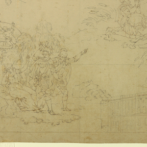 """Six islands show scenes from Voltaire's epic """"Henriade"""": upper left: Henry IV before his tent on the field of battle, outside the walls of Paris , counseling the Chevalier d'Aumale  before his duel with Henry, Viscount of Tourenne (Canto X, lines 48-49); upper right, Henry IV, seated in a landscape near the port of Dieppe, with his friend Duplessis-Mornay, converses with a holy hermit (Canto I, lines 229-232); center, the entrance of Henry IV into Paris, approaching on horseback the Cathedral of Notre Dame, as his subjects kneel before him (Canto X, lines 512-514); lower right, Henry IV taking leave of his mistress, Gabrielle d'Estrees, before the Temple of Love, and returning with Mornay to the army (Canto IX, lines 344-348); lower center, Pavillon Henry IV of the Louvre; lower right, Henry IV in the Battle of Ivry, in which the Duke of Mayenne is defeated and the Earl of Egmont slain (Canto VIII, lines 180-181)."""