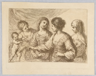 Four women before a curtain. The Child standing at the left, one woman (far left) supporting him, another, pointing to him with both hands. Below, the artist' names and place and date.