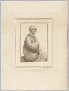 The man sits with a simple robe about him, his legs crossed, facing the right. His right hand, pointing, and his left hand, on his knee, are dotted in.