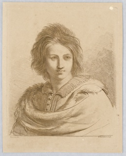 The young man's body facing slightly to the left, his gaze directed to the left. He is wearing a cloak with fur lining.