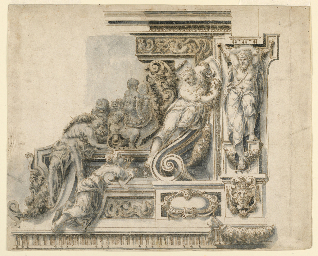 Detail of a highly sculptural frieze with many figures. At right, a woman reclines on a volute. Beside her, a man with one foot raised supports a tablet. Below him, a mask and swag.