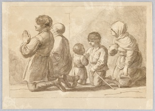 The two men of the family – an old and a young man are on their knees facing the left. Behind them a young boy guides his younger brother. A woman at the right, with a basket.