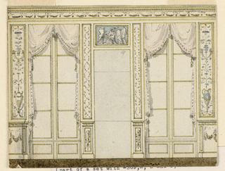 A short side wall showing a door flanked by high windows with hangings.