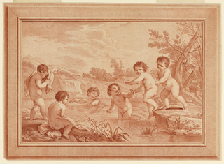 Six boys playing at a stream. Two are in the water, a third is being pulled and pushed in. There are three others on the banks, one with a cloth over his head and shoulders. An engraved rectangular frame.