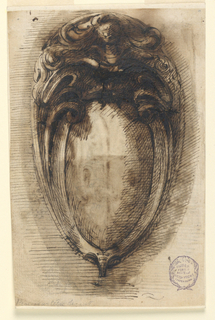 Design for an oval escutcheon with a helmet cresting.