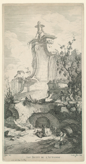 Figures sleep of a bacchanalian revel in the foreground. Behind, right, a large grapevine, and center, beyond a wine cellar, a large rocaille fountain approached by a flight of steps.
