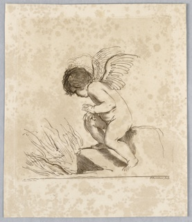Cupid sits and peers left over some rocks, at his bow and arrow, which appear to be in flames.
