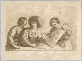 The woman, center, wears a huge turban-like hat, her right hand holding brushes, and touching the palette, her left hand supporting the design of a woman in drapery. The two other women look on, at either side. Below the artists' names.