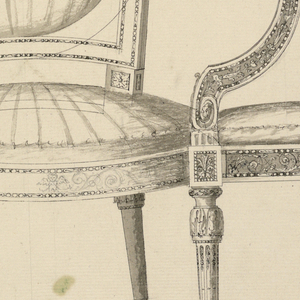 In the center, a chair with a convex upholstered seat is shown from the front. The left leg of the right design serves simultaneously as the right foreleg of central design. The frame of the back is suggested. Upholstered entirely or with pierced lower corners; left, a right leg of different design; right, an armchair shown in profile. The seat and the arm show upholsterings, the frame marquetry. The scale is below.