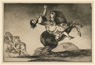 Print, Young woman carried by a rearing horse