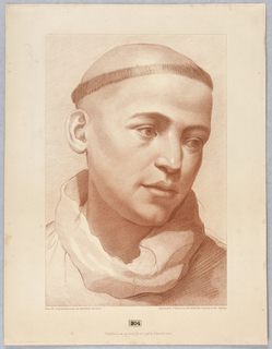 The young man shows the collar of a monk's habit, and his head is tonsured. He looks down to the right.