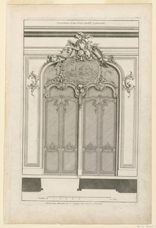"""Two double doors in a joint arch. Both doors decorated in upper part with rocaille volutes. The area above decorated jointly. In center, a painting depicting putti in landscape. Above it, extending the door frame, carved trophies of hunt. Below, profile of doors and scale. Inscribed along upper margin: """"title; lower right: """"1""""; along lower margin: """"A Paris chez Mariette rue St. Jacques aux Colonnes d'Hercule""""."""
