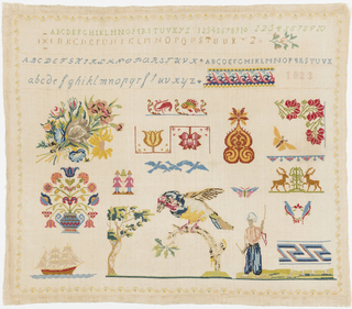 Alphabets at top and brightly colored floral and animal motifs in field within small floral border.  Sampler was probably begun at one date and completed many years later.  Original motifs; alphabets, tied bouquet of flowers, parrot on tree and man leading horse are long armed cross and cross using silk.  Other motifs, including date are cross stitch using mercerized cotton.  The older embroidery is finely worked, the newer embroidery is coarse.