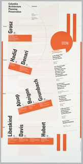 """Poster, """"Spring 1995"""" poster for Columbia School of Architecture lecture series, ca. 1995"""